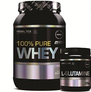 Combo 100% Pure Whey 900g + L-Glutamine 120g - Probiótica