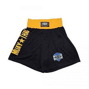 Short Muay Thai Preto com  Amarelo - Punch