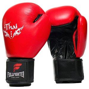 Luva Thai  Style Pro Couro Legitimo Premium vermelha- Full Figther