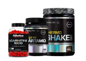 Kit L- Carnitine 1000 60 caps  + Thermo Shake Diet 400g + Óleo de Cártamo 120 caps