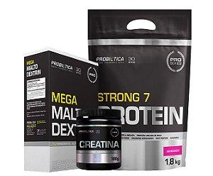 Kit Strong 7 Protein + Mega Maltodextrin + Creatina Pura 100 g