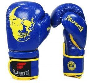 Luva Muay Thai Carbon Azul com Amarelo Skull- Full Fighter