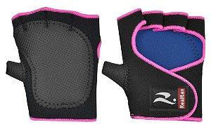 Protetor de Palma Com Polegar Preto com rosa - Realtex