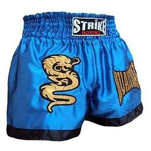 Shorts Muay Thai Azul com Preto - Strike