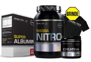 Kit Volume Corporal e Peso Massa Nitro 1,4kg + Super Albumina 500g + Creatina 300g - Probiótica