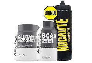 Kit Recuperação e Manutenção Glutamina 300g + BCAA 2:1:1 120 caps - Atlhetica