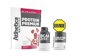 Kit Massa Magra e Recuperação Protein Premium 850g + BCAA 2:1:1 120 caps - Atlhetica