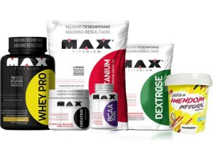 Combo Aumento de Massa Muscular e Peso  Whey Pro 1kg + Mass Titanium 3kg + Creatina 150g + Dextrose 1kg + BCAA 2400 60 caps + Pasta de Amendoim 1kg