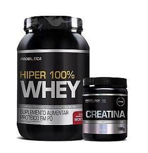 Kit Massa Magra Hiper 100% Whey 900g + Creatina 100g - Probiotica
