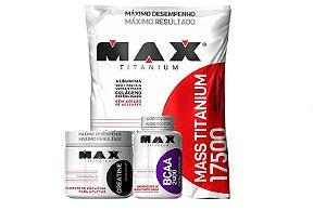 Kit  Volume Corporal e Força Mass Titanium 3kg + Creatina 150g + BCAA 2400 100 caps - Max Titanium