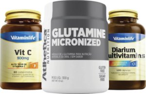 Kit Imunidade: Glutamine Micronized 300g Atlhetica + Vit C 500mg Vitaminlife + Diarium Multivitamins 120caps Vitaminlife