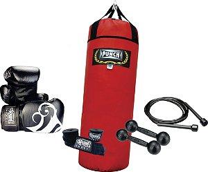 Kit Treinamento Saco de pancada 90 cm + Corda slim + Luva boxe 12 oz + Bandagem 2,5 mt + Par de halter 1kg