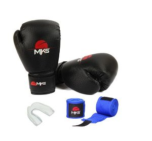 Kit treino Prospect luva preta + protetor bucal + bandagem 3,5 - MKS