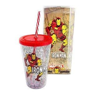 Copo com Canudo Homem de Ferro Marvel