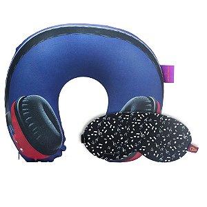 Almofada de Pescoço Headfone com Máscara de Dormir