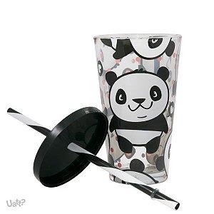 Copo com Canudo de Vidro Panda
