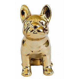 Cofre Cerâmica Metalizado - Pug Fofinho Dourado