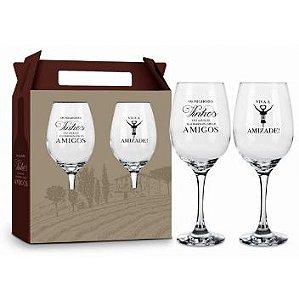 Conjunto Duas Taças Vinho - Viva a Amizade