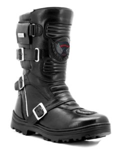 Bota Motociclista On-Road Adventure Couro Preto Cano Longo