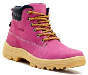 Bota Adventure Feminina Couro Rosa Pink Ride Work