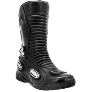 Bota Motociclista Atron Cano Alto On Road com Slider Couro Preto