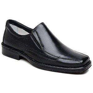 Sapato Masculino Confortável Bico Quadrado Couro Preto