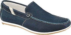 Sapato Masculino Marrom Mocassim Couro Azul