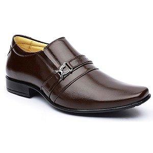 Sapato Social DLutty Bico Quadrado Pele de Carneiro Marrom