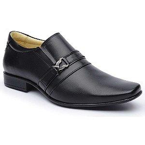 Sapato Social DLutty Bico Quadrado Pele de Carneiro Preto
