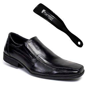 Sapato Social Ranster San Cley Couro Preto + Calçadeira