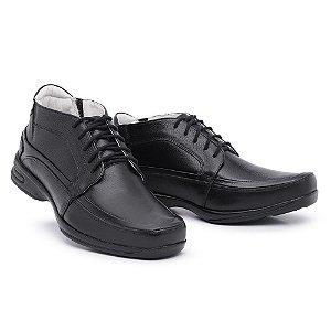 Sapato Torani Abotinado Cadarço Couro Preto