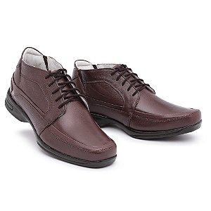 Sapato Torani Abotinado Cadarço Couro Marrom