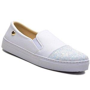 Tênis Slip On Torani Feminino Branco com Glitter
