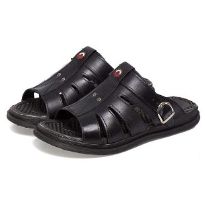 Sandália Chinelo Comfort Couro Preto