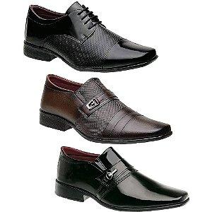 Kit 3 Pares Sapatos Sociais Masculinos Torani Barano