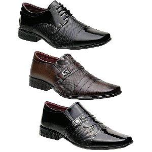 Kit 3 Pares Sapatos Sociais Masculinos Torani Del Greco