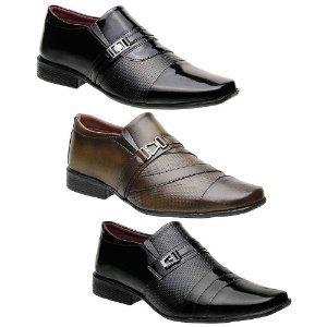 Kit 3 Pares Sapatos Sociais Masculinos Torani Falcone