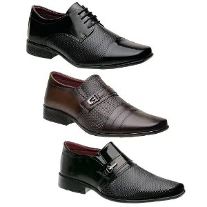 Kit 3 Pares Sapatos Sociais Masculinos Torani Melfi