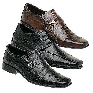 Kit 3 Pares Sapatos Sociais Couro Torani Sapri