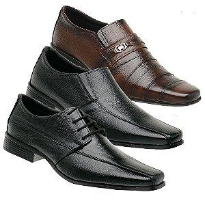 Kit 3 Pares Sapatos Sociais Couro Torani Riano