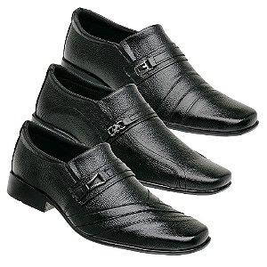 Kit 3 Pares Sapatos Sociais Couro Torani Taranto