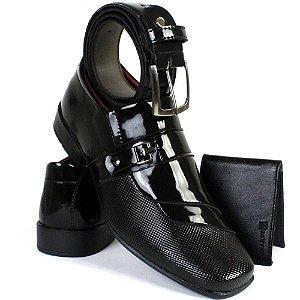Kit Sapato Masculino Torani Envernizado + Carteira + Cinto