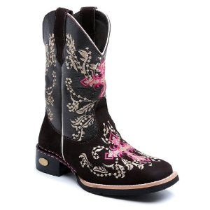 Bota Country Texana Feminina Cano Alto Couro Marrom