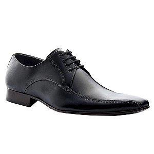 Sapato Social Preto Masculino Couro Preto com Cadarço