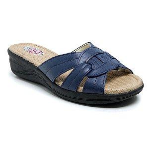 Sandália Feminina Torani Super Confortável Couro Azul