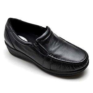 Sapato Feminino Comfort Ortopédico Couro Preto