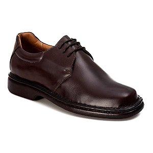 Sapato Social Masculino Cadarço Couro Marrom
