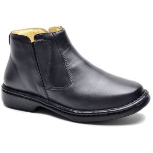 Bota Masculina Cla Cle Relax Palmilha Gel Confort Couro Preto