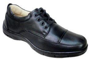 Sapato Preto Couro Legítimo com Cadarço Franca Calçados
