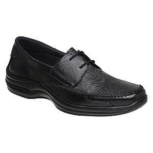 Sapato Masculino Linha Comfort Cadarço Couro Preto Torani SLZ